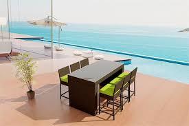 wicker bar height patio set patio furniture viro outdoor wicker acrylic cushions 7 pc