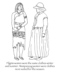 Wampanoag Pilgrim Thanksgiving Coloring Pages Many Hoops Summer Clothes