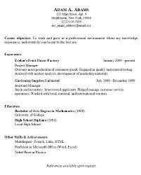 Basic Job Resume Examples Easy Simple Objective