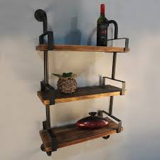 IKayaa 3 Tier Rustic Industrial Iron Pipe Wall Shelf