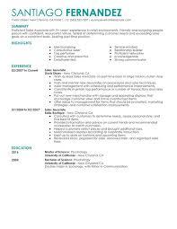 Sales Resume Part Time Associates Sample Retail