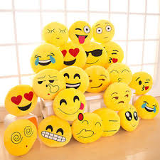 13 Inch Cute Emoji Emoticon Cushion Pillow Round Yellow Stuffed