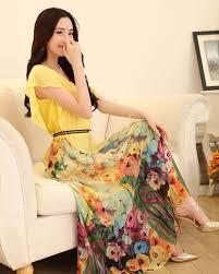 floral print chiffon ankle length yellow maxi dress