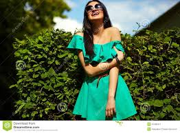 stylish woman on casual green dress stock photo image 42480471