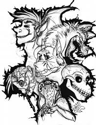 Sketch Of Scary Monsters Coloring Page