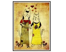 Rustic Cats Art Print Instant Download