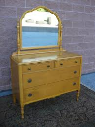 antique 1930s birds eye maple dresser serpentine mirror 4 drawer