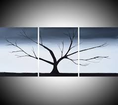 Triptych Black And White 3 Panel Wall Art Color Tree In Wood The