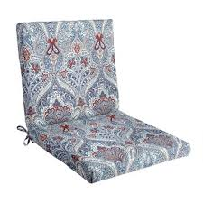 Paisley Blue Indoor Outdoor Mid Back Chair Pad