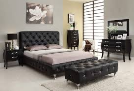 fashion euro bed group with black leather tufted headboard bed