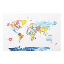 Watercolor World Map Painted Color Coded Inside