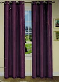 2 Panels Plum Purple Crushed Wrinkle Grommet Faux Silk Window