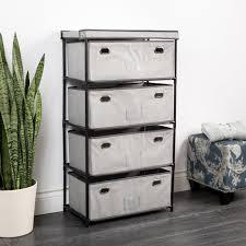 KSP Fabric 4 Drawer Storage Cabinet Grey