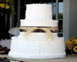 Wedding Cake 3 Tier Rustic Brown Basket Round