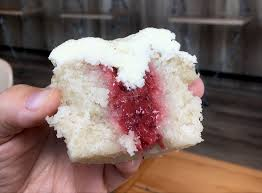 Strawberry Puree Filling In The Shortcake Cupcake At Mollys Cupcakes Des Moines