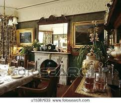 Modern Victorian Dining Room Mirror Above Fireplace In With Gilt Framed Pictures
