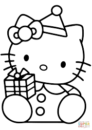 Download Coloring Pages Christmas Gift Hello Kitty With Box Page