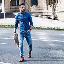 Denim Shirt Mens Street Style
