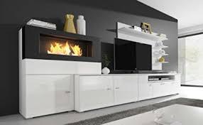 home innovation moderne wohnwand tv lowboard esszimmer mit kamin bioethanol schrankwand wohnzimmer kamineinsatz verarbeitung weiß mate und weiß