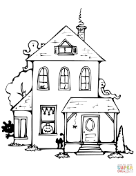 Simple Haunted House Coloring Pages 1