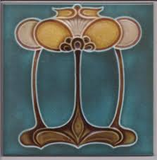 nouveau arts crafts floral tile ref 031 nouveau floral