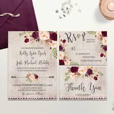 Burgundy Rustic Wedding Invitation Printable Invite Cranbery Blush Suite Floral Boho