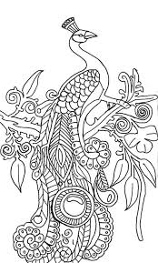 Abstract Peacock Coloring Pages On Tree