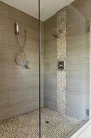 new shower with tile walls and rock floor and accent yelp