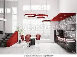 Modern White Kitchen Interior 3d Rendering Stockfoto Und Interior Of Modern Kitchen 3d