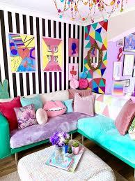 bunte tapete für wände zimmer möbel wohnzimmer