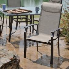 Stack Sling Patio Chair Tan by Patio Dining Chairs You U0027ll Love Wayfair