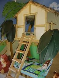 Kids Bedroom Fascinating Design Of Jungle With Twin Bank Wooden Frame And