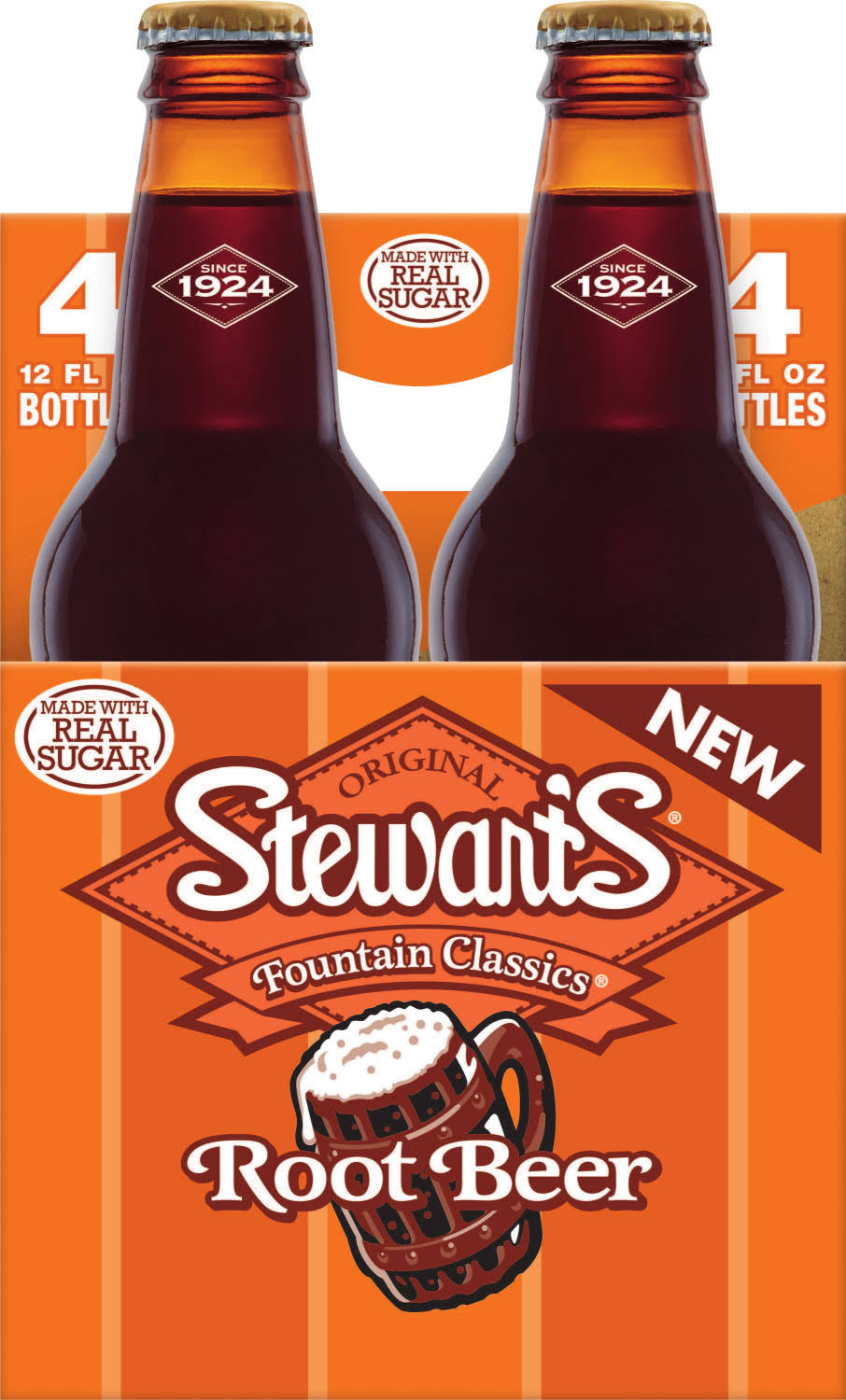 Stewart's Root Beer Made with Sugar - 4 pack, 12 fl oz bottles