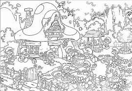 Village Coloring Page Smurf Pages Fun Color
