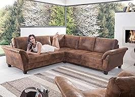 sofa contessa landhausstil ecksofa braun holz stoff textil