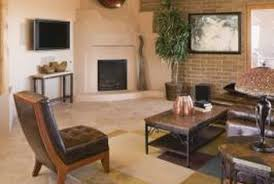 how to arrange a rectangular family room with a corner fireplace
