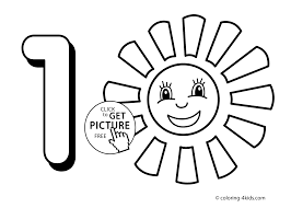 1 Numbers Coloring Pages For Kids Printable Free Digits Books