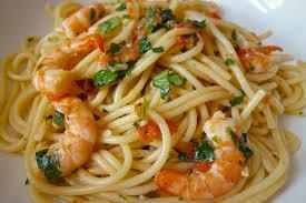 cuisine du soir rapide spaghetti aux crevettes à l ail menus propos