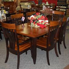 Christy Dining Set, Includes 2 Fan Back Arm Chairs And 4 Side Chairs. Shown  In Grey Elm & Brown Maple With A Two-tone Michael's Cherry & Onyx Finish Oak Ding Room Table Sets Chairs Chelsea Amish Chair Arm How To Choose The Best Wood For A Top Amishtables Sage Set Made In Usa Burwood Mission Antique 7piece By Foa High Back Patterned Our Satisfied Customers Archives Wooden With Cushion Style Sherwood Chairs Upholstery Jelly Cupboard Round Extendable Seats Person Glamorous