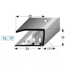 abschlussprofil abschlussleiste laminat clarington höhe 14x17 mm 23 mm breit edelstahl flex