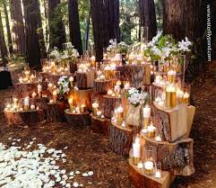 Dramatic Stacked Wood Stump Backdrop For Wedding Ceremony Altar In Front Of YOUR