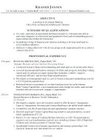 Bank Sample Resume Investment Analyst Banking
