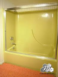 outdated harvest gold fiberglass shower only thing wrong is the