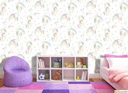 Rainbow Wallpaper For Bedroom Unicorn Girls Glitter Sparkle Pink Silver