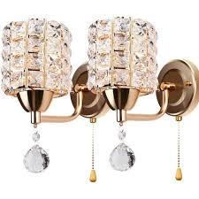 2er pack moderne wandleuchte kristall wandle eleganter stil kreative zylinder wandleuchte für wohnzimmer esszimmer schlafzimmer gold