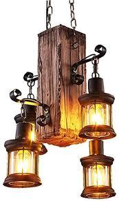 retro pendelleuchte holz mit 4 lichterindustrielle loft bar industrial hängele und metall pendelle höhenverstellbar schlafzimmer wohnzimmer flur