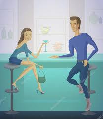 si e de bar coppia al bar illustrazione di vettore uomo e donna che si siede al