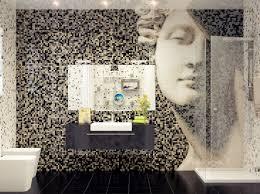 Fascinating Ideas For Mosaic Tile Bathroom Decoration Design Cute Black White Using Artwork