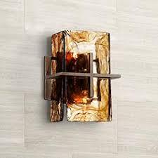 Bronze Gold Art Glass 8 Wide Wall Sconce