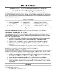 Sample Resume For A Construction Carpenters Assistant